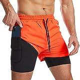 Danfiki Pantalones cortos para hombre con bolsillo para teléfono, 2 en 1, de secado rápido y ligero, naranja, 42