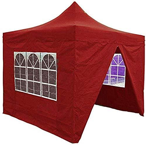ZLRE Pop Up Gazebo, with Steel Frame Outdoor Canopy, Heavy Duty Instant Shelter Gazebo, Waterproof Outdoor Gazebo for Garden,Red,3 * 3M