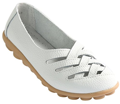 Fangsto Women's Cowhide Leather Loafers Flats Sandals Slip-On US Size 9.5 White