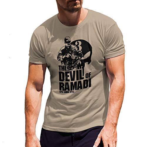 American Sniper Scharfschütze Navy Seal Team 3 US Irak T Shirt #15939, Größe:XXL, Farbe:Sand