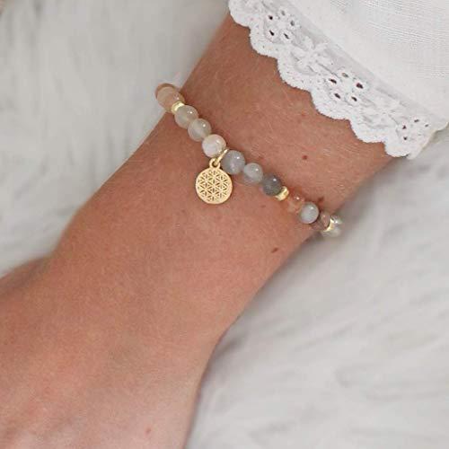 LEBENSBLUME Armband Frauen aus echtem MONDSTEIN, 925er Silber oder Silber vergoldet, perfektes Geschenk zum Geburtstag