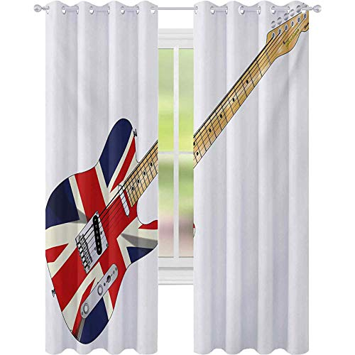 Cortinas de ventana, Clásica Guitarra Eléctrica Bandera del Reino Unido Gran Bretaña...