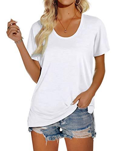 OFEEFAN Women's Scoop Neck Short Sleeve T Shirts Side Slit Basic Tees