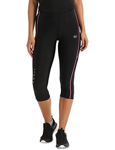 Ultrasport Damen Laufhose 3/4 Kompressionswirkung und Quick-Dry-Funktion, Schwarz/Neon Pink, M