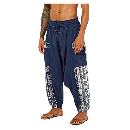 gfdrt Pantalones sueltos para hombre, de algodón, estilo bohemio, hippie, de pierna ancha, holgados, ligeros, pantalones de jogging, azul, 34-37