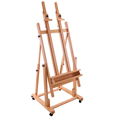 U.S. Art Supply Extra Large Double Mast Wooden H-Frame Studio Floor Easel with Artist Storage Tray – Adjustable, Tilts Flat, Premium Beechwood Canvas Painting Holder Stand – Pro Locking Caster Wheels