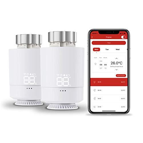 Tolviviov - Termostato inteligente WiFi para radiador, para ahorrar costes de calefacción, programa sencillo, requiere concentrador, compatible con Alexa, Google Assistant, 2 unidades