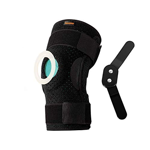 Thx4COPPER Hinged Knee Brace Adjustable Open Patella with Parallel Straps Dual Side Stabilizers Compression Support for Knee Pain ReliefRecovery MCL ACL LCLTendonitis Ligament for Men Women