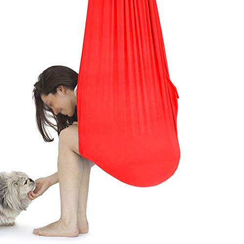 LHHL Kinder-Therapieschaukel für sensorische Schaukel, für Autismus, ADHS, ADD, elastisch, Anti-Schwerkraft-Yoga-Hängesessel für Jugendliche (Farbe: Rot, Größe: 150 x 280 cm)