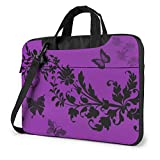 Purple Butterfly Laptop Sleeve Case Computer Bag, Stylish Shockproof Water-Resistant Carrying Briefcase with Shoulder Strap, Size 13 Inch 14 Inch 15.6 Inch
