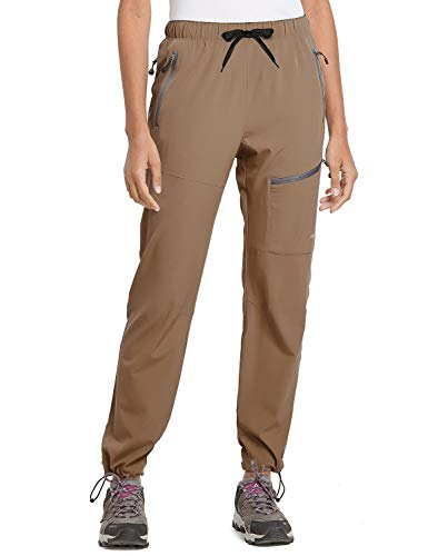 BALEAF Women's Hiking Cargo Pants Outdoor Lightweight Capris Water Resistant UPF 50 Zipper Pockets Brown Size M
