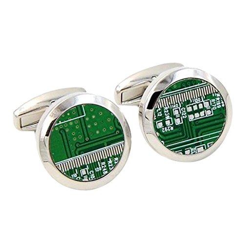 Blesiya 1 Paio Gemelli in Disegno Circuito Stampato Accessorio Rotondo di Camicia Regalo per Uomini - Verde - 20mm