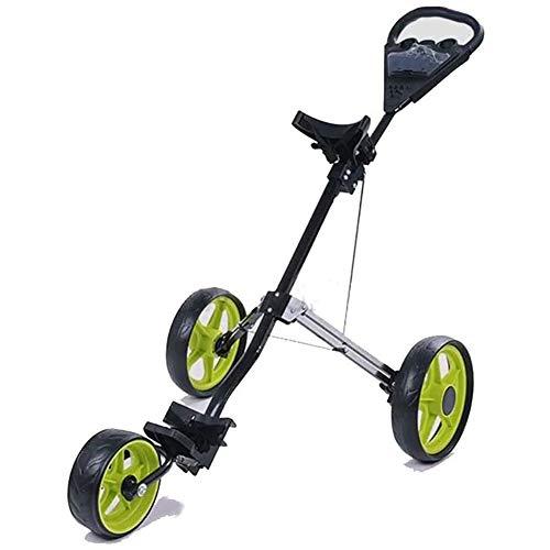 BCQ 3-Rad Golftrolley, Golfwagen Golf Klappbar, Verstellbarem Griff Leichter Golf Push Ziehen Cart, Eine Sekunde Öffnen/Schließen