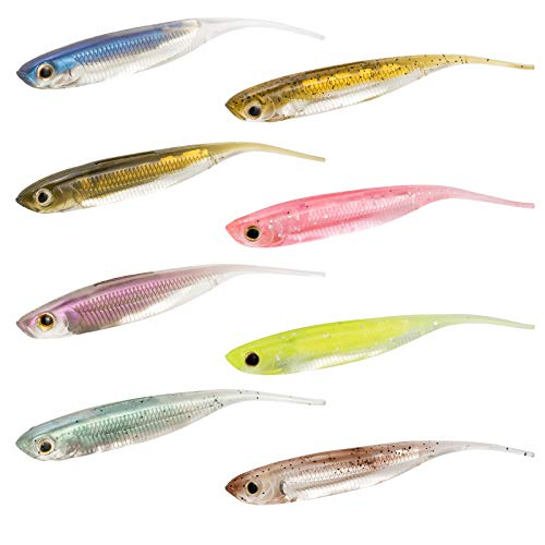 Dr.Fish Lot 6 Fishing Soft Plastic Lures Bass Minnow Shad Bait Needle Tail Smallmouth Fishing Swimbait Kit 3.15in Pink