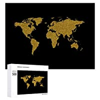 INOV 金黒い世界地図 ジグソーパズル 木製パズル 500ピース キッズ 学習 認知 玩具 大人 ブレインティー 知育 puzzle (38 x 52 cm)