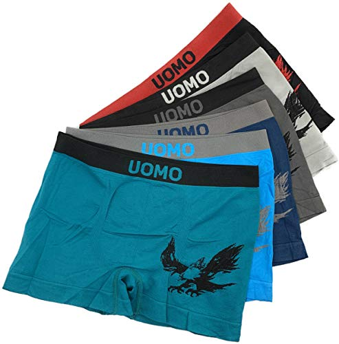 Laake 6 Stück Jungen Boxershorts Unterhosen Microfaser Retro-Pants Jungenshorts Schlüpfer Uomo Unifarben Sport (Adler-01, 152-164)