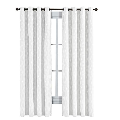 Victoria Thermal Blackout Panels, Top Grommet Jacquard Room Darkening Window Curtains, Pair, Set of 2 Panels, 54 inches Width by 96 inches Long Each Panel, White