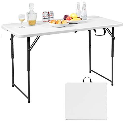 GIANTEX Campingtisch klappbar, Klapptisch Gartentisch mit Tragegriff, in 3 Stufen höhenverstellbar, Balkontisch Esstisch bis zu 150kg belastbar, weiß