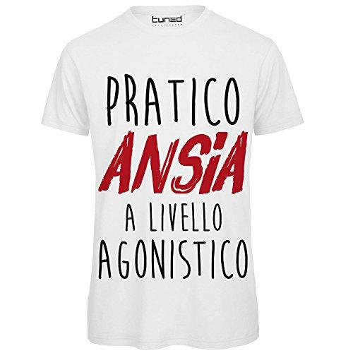 CHEMAGLIETTE! T-Shirt Divertente Uomo Maglietta Cotone con Stampa Frasi Ironiche Pratico Ansia Tuned, Colore: Bianco, Taglia: M