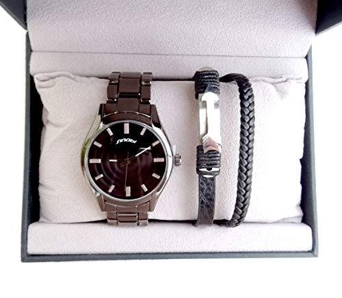 Coffret Box Idea Regalo Hombre Plata Reloj + Pulsera Ancla cordón Trenzado Negro
