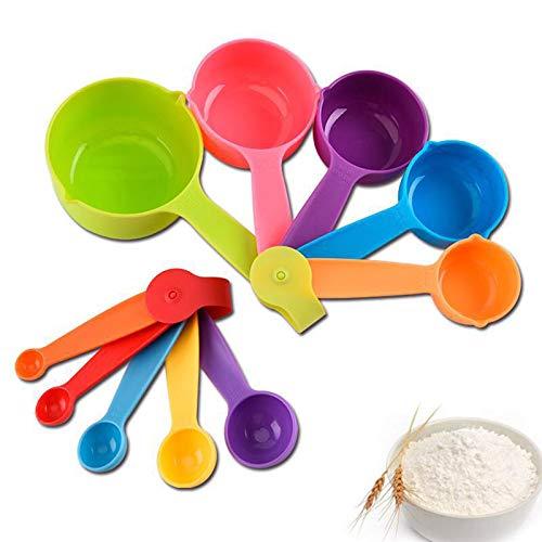 10stk Messbecher und Messlöffel Set Kunststoff Mehrfarbig für Kochen Backen Dosieren Zutaten (Random Stil)
