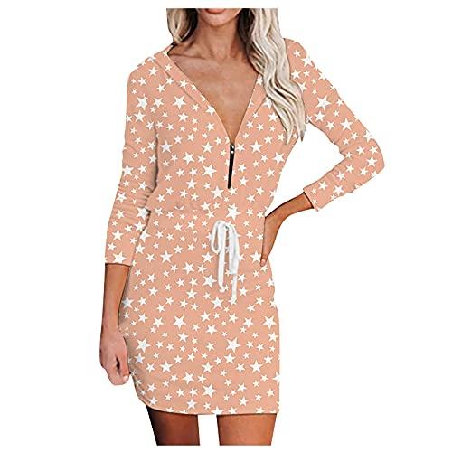 Vestido de otoo de manga larga con cuello en V y correa de espagueti para mujer, vestido casual con cordn, B Rosa, XXL