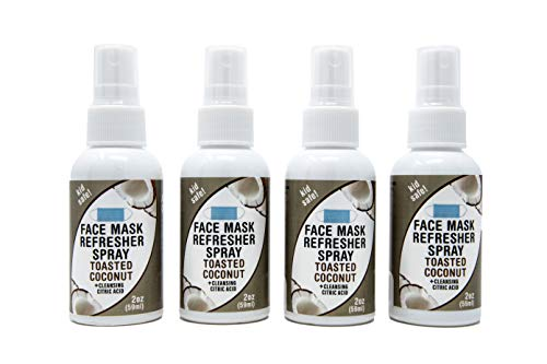 Nature's Fusions Face Mask Refresher Cleansing Spray with Toasted Coconut Essential Oils, 8 Fl Oz (2 Fl Oz per Bottle), 4 Pack