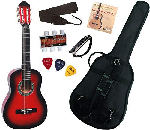 Pack Guitare Classique 1/4 Pour Enfant (4-7ans) Avec 6 Accessoires (Rouge)