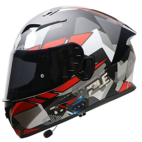 Casco de Motocicleta Cascos Motocicleta Modulares de Cara Completa ECE Homologado Casco Moto Cara Completa con Visera Antivaho Doble Frontal Abatible D,L=57~58cm
