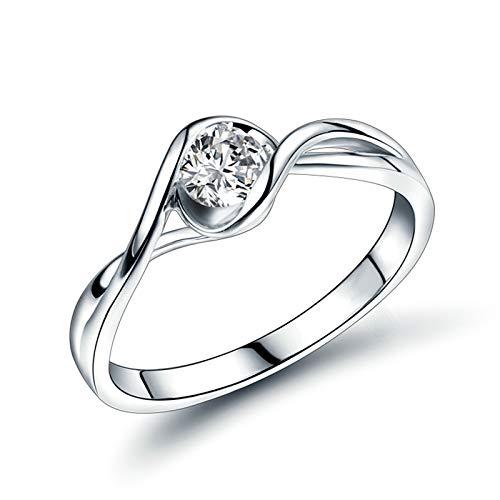 Bishilin Anillo Oro Blanco 750 Reales, Diamante de Diseño Retorcido Bandas de Boda 0.3 Quilates de Diamante Elegante Anillo de Alianza de Boda de Compromiso de Aniversario Oro Blanco Talla: 21