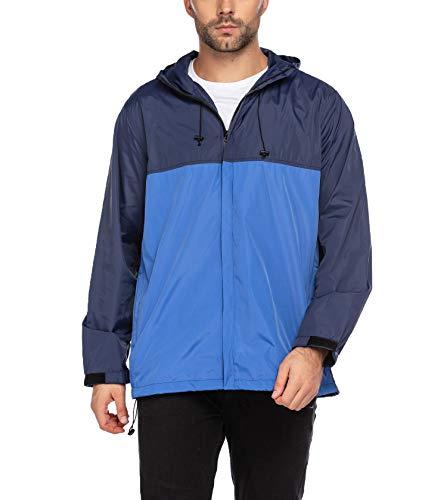 COOFANDY Men's Water-Resistant Rain Jacket Lightweight Hooded Rain Coat Windbreaker (Navy/Blue XL)