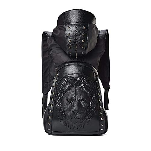 Skymoo Mochila de piel con diseño de calavera en 3D, diseño de calavera con capucha y capucha, para hombre, c (Negro) - GTB-84987812