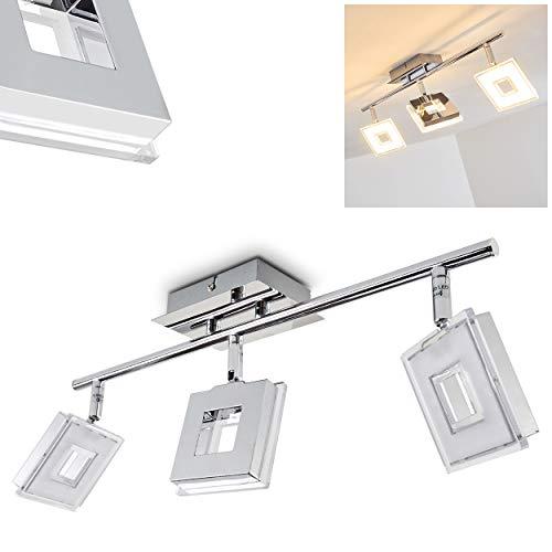 LED plafondlamp Krakau, plafondlamp in chroom, 3 vlammen, met 3 verstelbare spots, 4,5 Watt elk, 350 Lumen (1050 Lumen totaal), lichtkleur 3000 Kelvin (warm wit)