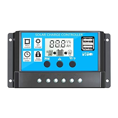 Nowakk Regulador inteligente del regulador de la carga solar PWM con el regulador dual de la batería del panel solar de la pantalla LCD del USB - negro y azul