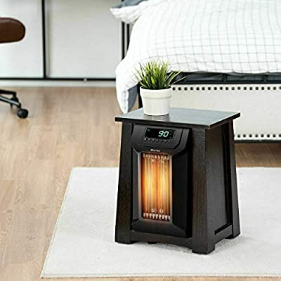 Cart Sofa Side Console Ingle 3 Level 8 Quartz Fast Heating Oscillating 1500W Quiet Overheat Protect with Timer Remote Control Versatile Convenient Black Coffee Table Fire Place Pit Area Heater