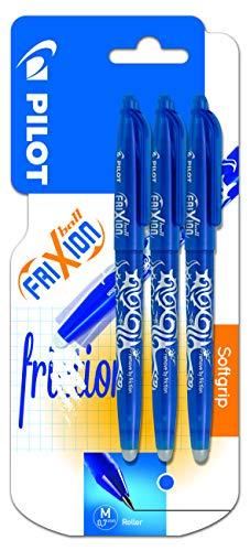 Pilot FriXion Ball - Pack de 3 bolígrafos roller borrables (3 unidades, 0,7 mm, tinta de gel azul), color azul