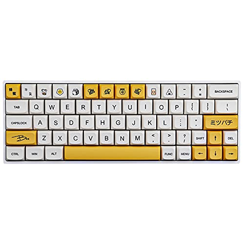 JakeTsai 137 Keys PBT Keycap XDA Dye Sublimation Tastenkappe Honigmilch Tastenkappe Kirschprofil Kompatibel 61/64/68/75/84/87/96/104/108 Tasten (Englisch