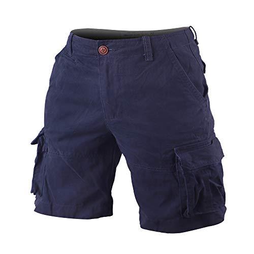 Muscle Alive Hombres Cargo Shorts Vintage Deportes Cámping Excursionismo Camuflaje Pantalones Cortos Algodón 170 Azul Oscuro 32