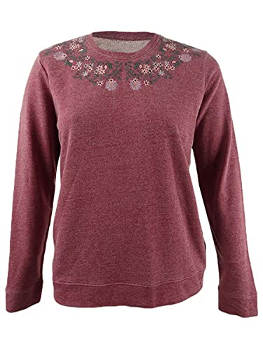 Lucky Brand Women's Necklace Embroidered Novelty Sweatshirt, Biking Red, XS
