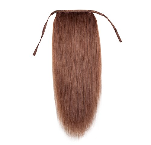 Remeehi NEW Silky Straight High Ponytail Clip in Indian Remy Human Hair Extensions 80g 16 Inches #33 Dark Auburn