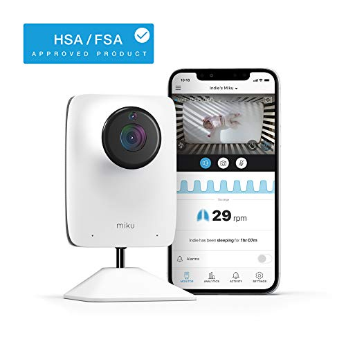 Miku Smart Baby Monitor - Smart Video Baby Monitor - HSA/FSA Approved - Contact-Free Real-Time Breathing - HD Video & Audio, Night Vision, Two-Way Talk, Motion, Sound, Humidity & Temperature Detection