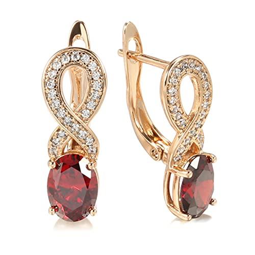 Tendencia Pendientes de Novia de circonita roja Natural para Mujer 585 Pendientes de Flores de Cristal de Oro Rosa Joyería de Boda Vintage