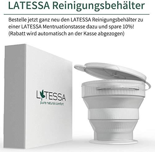 LATESSA Menstruationstasse – Made in Germany – geruchlos – farbstofffrei – medizinisches Silikon – Alternative zu Tampons und Binden – Menstruationstassen als nachhaltige Monatshygiene – Größe 1 – klein - 5