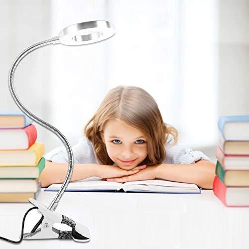 Lámpara de Escritorio con Clip de Luz Lámpara Lupa de 8 Dioptrías Luz de Lectura Lámpara 48 LED USB Portátil LED 8W Lámpara Lectura con Flexo Pinza 360° Flexible para Libro Estudio y Trabajo