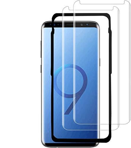 MFANZ S9 Plus Panzerglas(2 PACK) (mit Einbaupositionierer),S9 Plus Panzerglas 3D/Easy Install Kit/Hüllenfreundlich Panzerglas Schutzfolie für Samsung Galaxy S9 Plus