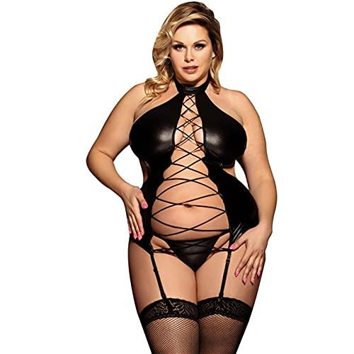Liaiqing Sexy lencera seoras Discoteca imitacin Corbata Corbata Cuerda suspensin tonterizos + t tentacin tentacin Pijama Conjunto (Color : Black, Size : 5XL)