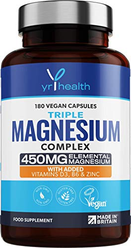 Triple Magnesium Complex 450mg Elemental Magnesium - 180 Vegan Capsules - Magnesium Citrate, Glycinate, Oxide Plus Vitamin D, B6, Zinc and Copper - Made in The UK by YrHealth