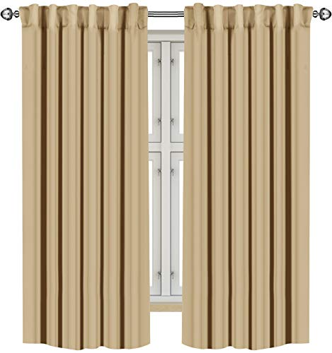 Utopia Bedding 2 Panels Rod Pocket Blackout Curtains with 2 Tie Backs W52 x L63 Inches, Thermal Insulated Window Draperies - 7 Back Loops per Panel, Biscotti Beige