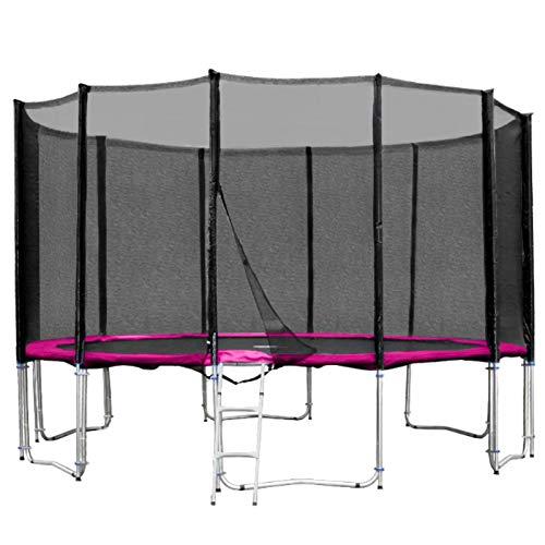 Baunsal GmbH & Co.KG Gartentrampolin Trampolin 396 bis 400 cm in pink mit Sicherheitsnetz und Einstiegsleiter