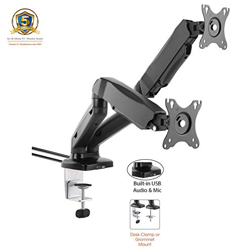 """ACGU32D Gas Powered Dual Monitor Arm Stand w/vesa Bracket & Desk Mount clamp & Grommet for Two 15""""-27"""" LCD : Tilt 135°, Swivel & Rotate 360°, USB & Audio Ports - in Black"""